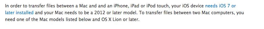 Airdrop zwischen iPhone/iPad und Mac funktioniert nur mit neueren Modellen.