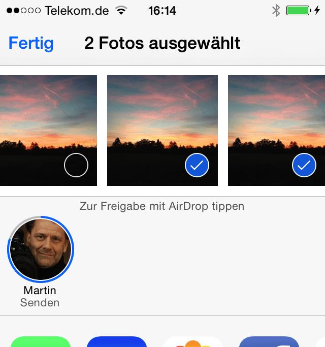 Mit dem iPhone 5 und dem Macbook Air von 2013 klappte: Ein Bild vom iPhone auf das Notebook überspielen.