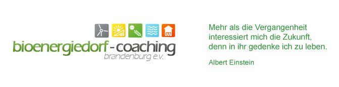 Screenshot von der Webseite des Bioenergiedorf-Coaching e.V. – mit einem denkwürdigen Zitat von Albert Einstein.